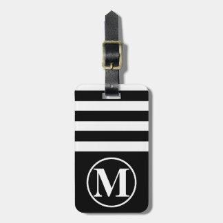 Étiquette À Bagage Demi de rayure décorée d'un monogramme