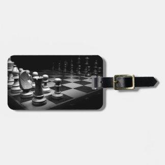 Étiquette À Bagage Échiquier blanc noir du Roi de pièces d'échecs