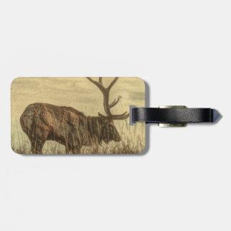 Étiquette À Bagage élans rustiques de Taureau de faune de région