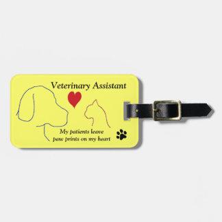 Étiquette À Bagage Empreintes de pattes auxiliaires vétérinaires sur