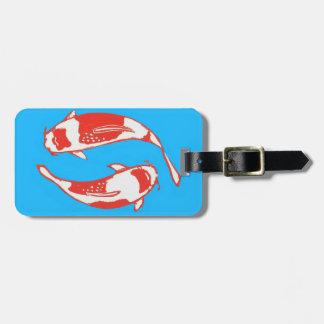 Étiquette À Bagage Étiquette bleue de bagage de poissons de Koi