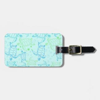 Étiquette À Bagage Étiquette bleue de bagage de tortues avec le