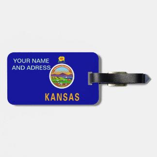 Étiquette À Bagage Étiquette de bagage avec le drapeau du Kansas,