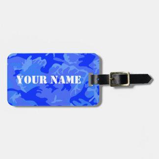 Étiquette À Bagage Étiquette de bagage de Camo de bleu d'océan