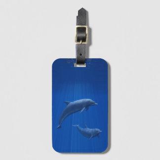 Étiquette À Bagage Étiquette de bagage de couples de dauphin