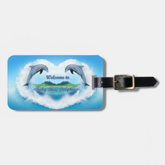 Étiquette À Bagage Étiquette de bagage de dauphin de bleus layette