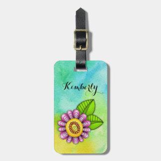Étiquette À Bagage Étiquette de bagage de fleur de griffonnage