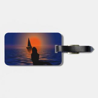 Étiquette À Bagage Étiquette de voyage du monde de coucher du soleil