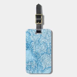 Étiquette À Bagage Étiquette européenne bleue de bagage de carte du