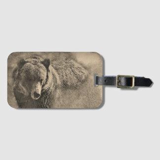 Étiquette À Bagage Étiquette faite sur commande de bagage d'ours gris