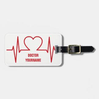 Étiquette À Bagage Étiquette faite sur commande de bagage du coeur
