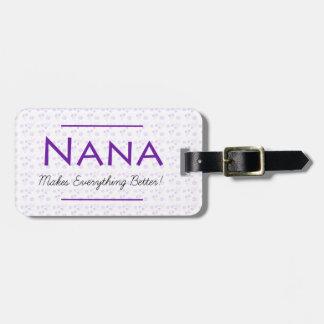 Étiquette À Bagage Étiquette florale pourpre de bagage pour Nana