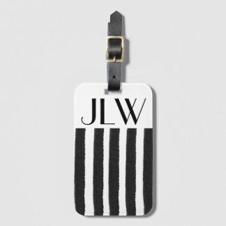Étiquette À Bagage Étiquette noire de bagage de rayure