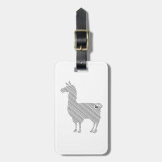Étiquette À Bagage Étiquette rayée de bagage de lama