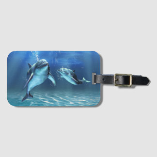 Étiquette À Bagage Étiquette rêveuse de bagage de dauphin