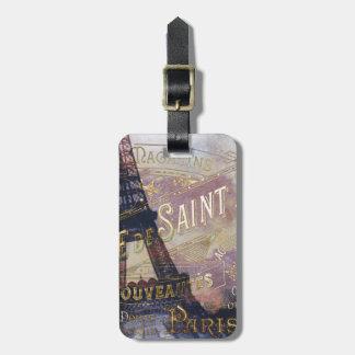 Étiquette À Bagage Étiquette vintage et Tour Eiffel de Français