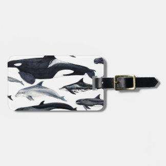 Étiquette À Bagage Famille des dauphins : orques, dauphins, marsopas