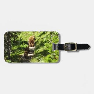 Étiquette À Bagage Famille d'ours de Brown