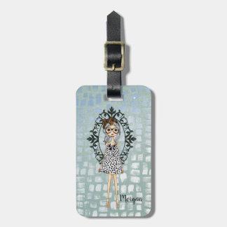 Étiquette À Bagage Fille à la mode mignonne avec des verres