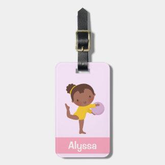 Étiquette À Bagage Fille mignonne de gymnaste avec l'étiquette de