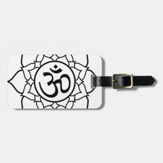 Étiquette À Bagage Fleur de Lotus, noire avec l'arrière - plan blanc