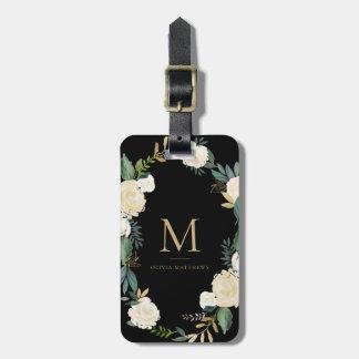 Étiquette À Bagage Fleurs d'aquarelle avec le noir de monogramme de