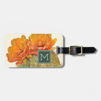 Étiquette À Bagage Fleurs d'orange de cactus