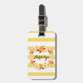 Étiquette À Bagage Fleurs d'orchidée et de Plumeria, élégantes