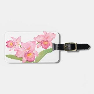 Étiquette À Bagage Fleurs exotiques roses d'aquarelle