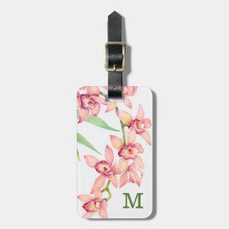 Étiquette À Bagage Fleurs roses d'aquarelle