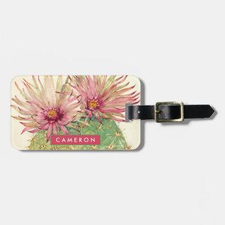 Étiquette À Bagage Fleurs roses de cactus