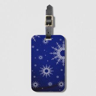 Étiquette À Bagage flocons de neige bleus