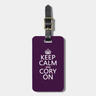 Étiquette À Bagage Gardez le calme et le Cory sur (toute couleur)