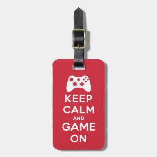 Étiquette À Bagage Gardez le calme et le jeu dessus