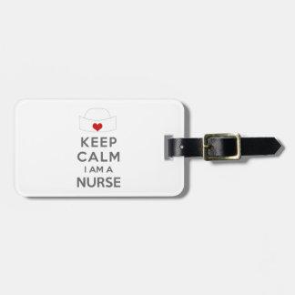 Étiquette À Bagage Gardez le calme que je suis une infirmière