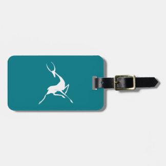 Étiquette À Bagage Gazelle blanche tirée par la main par espièglerie