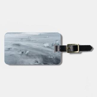 Étiquette À Bagage Glace et l'eau sur une plage, Islande
