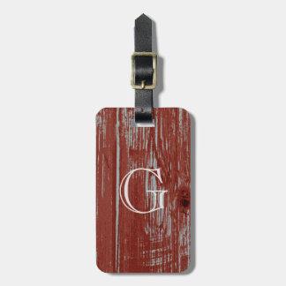 Étiquette À Bagage Grain affligé par rouge rustique en bois de grange
