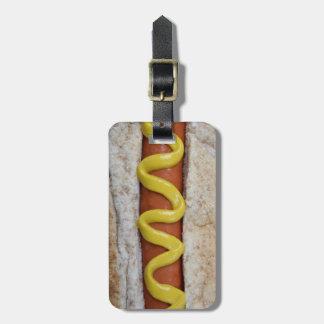 Étiquette À Bagage hot-dog délicieux avec la photographie de moutarde
