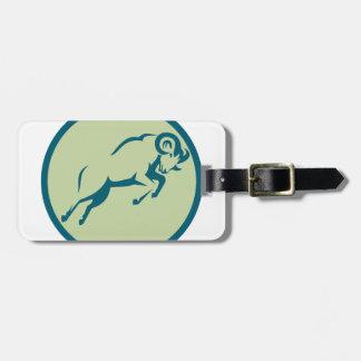 Étiquette À Bagage Icône sautante de cercle de moutons de montagne