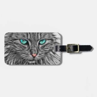 Étiquette À Bagage Illustration grise de chat de fractale