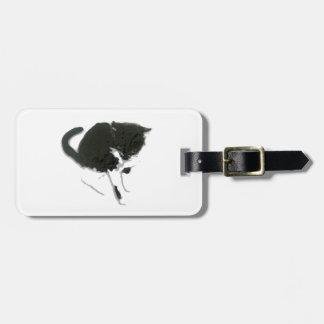 Étiquette À Bagage Illustration noire et blanche de chat