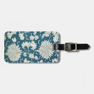 Étiquette À Bagage Impression florale bleue et blanche vintage