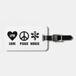 Étiquette À Bagage Infirmière de paix d'amour des soins LPN