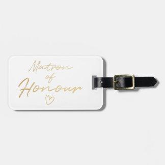 Étiquette À Bagage Infirmière d'honneur - aluminium de faux d'or
