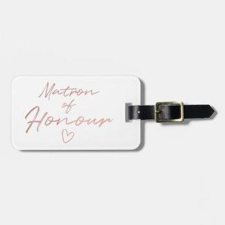 Étiquette À Bagage Infirmière d'honneur - aluminium rose de faux d'or