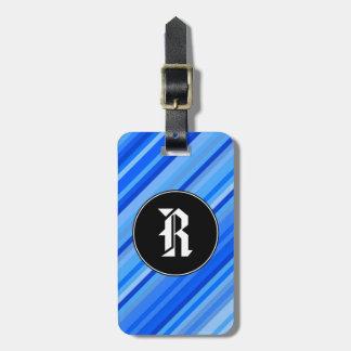 Étiquette À Bagage Initiale de coutume + Rayures de motif bleu