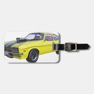 Étiquette À Bagage Jaune de voiture de 1970 muscles avec la rayure