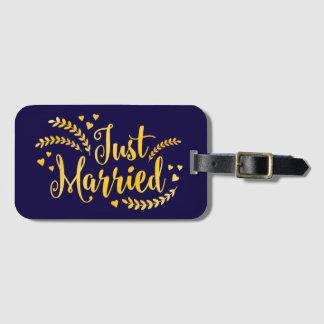 Étiquette À Bagage Juste mariage floral marié de laurier élégant d'or
