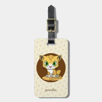 Étiquette À Bagage La bande dessinée mignonne de léopard de chat de